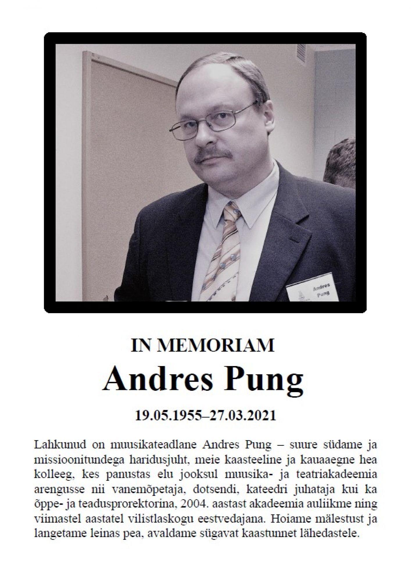 Andres Pung in memoriam